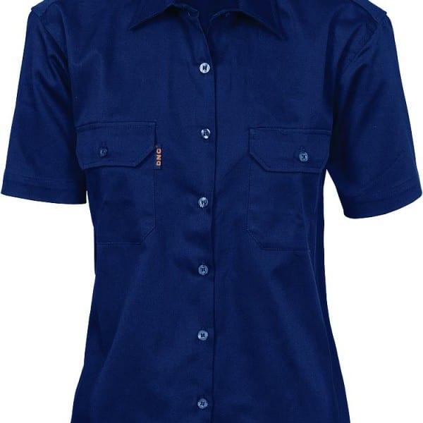 75a6230b9 DNC Ladies Cotton Drill Work Short Sleeve Shirt D3231 - Newcastle ...