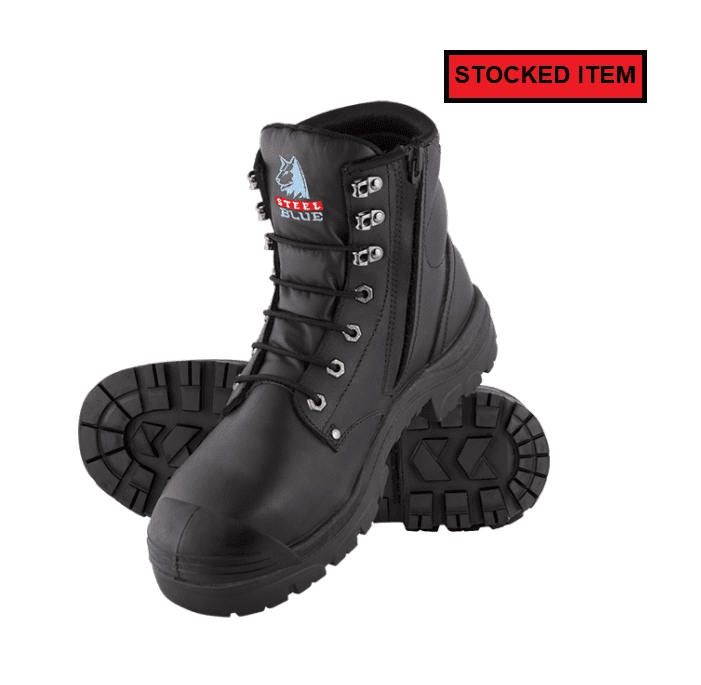 Steel Blue Argyle Black Zip Nitrile Bump Cap Safety Boot
