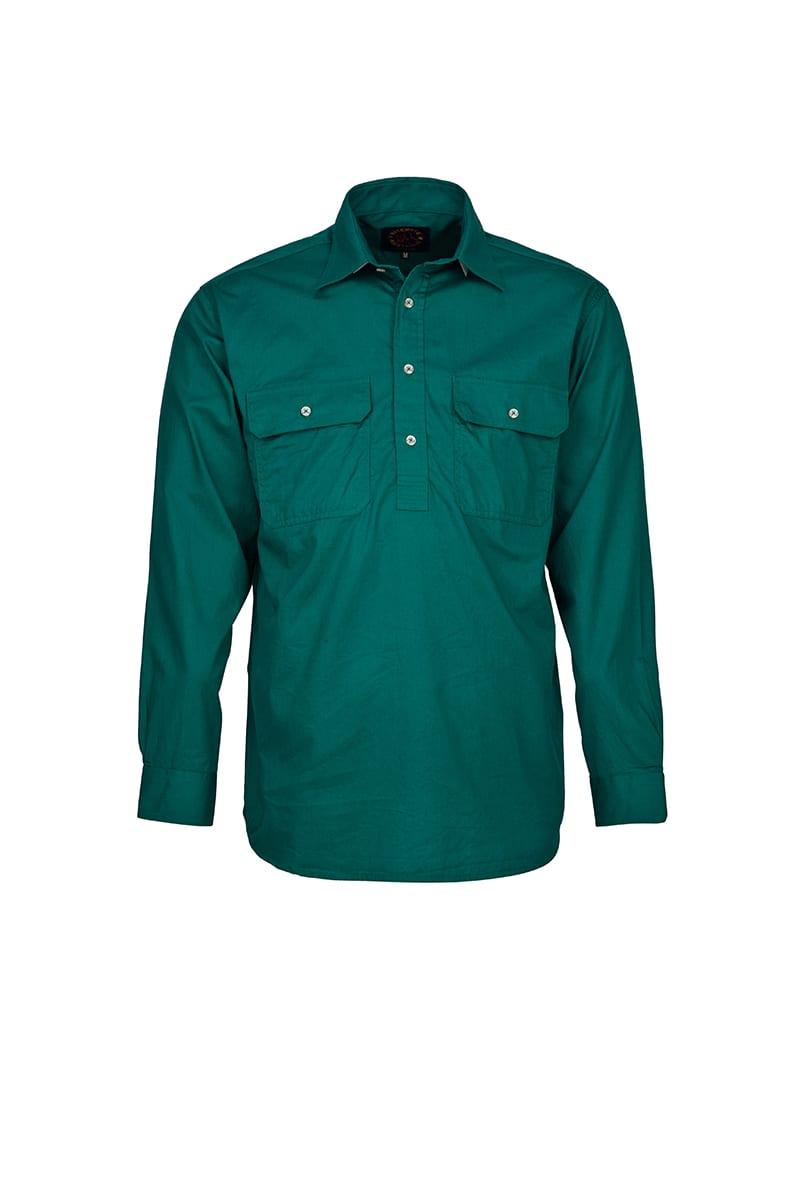 Ritemate long sleeve closed front pilbara shirt rm200cf for Black long sleeve work shirt