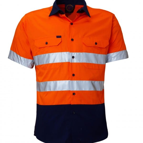 Ritemate hi vis lightweight short sleeve shirt with for Hi vis shirts with reflective tape